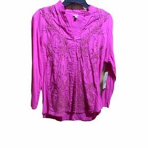Reba Women's Large hot pink button up